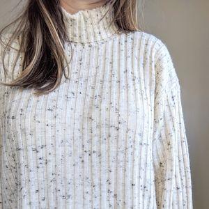 Vtg Chunky Knit Speckled Cream Turtleneck Sweater